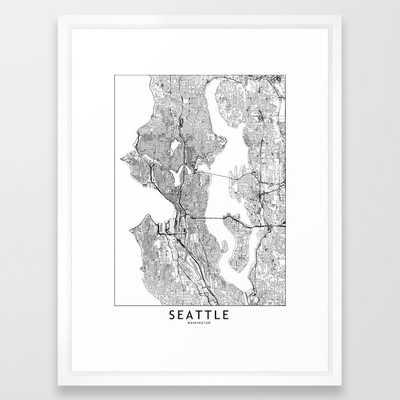 Seattle White Map Framed Art Print - Society6