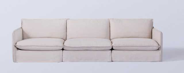 Neva Modular 3-piece Sofa - Washed Cotton Linen corn silk - Sixpenny