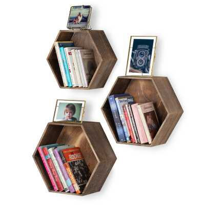 Daigle 3 Piece Hexagon Pine Solid Wood Floating Shelf (Set of 3) - Wayfair