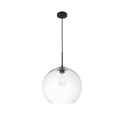 "Yearwood 1-Light Single Globe Pendant - Black/Clear - 13.8"" - Wayfair"