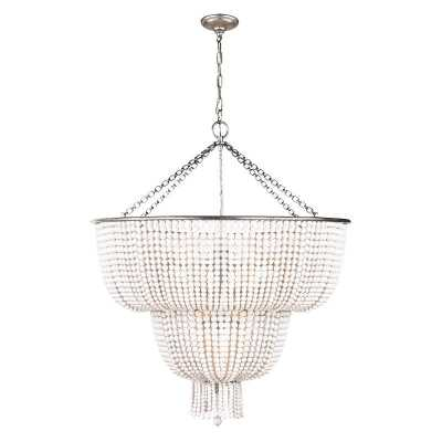 JACQUELINE LARGE CHANDELIER WITH WHITE ACRYLIC SHADE - BURNISHED SILVER LEAF - McGee & Co.