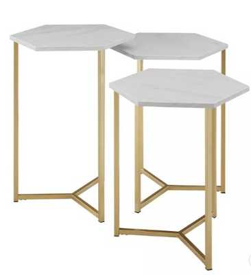 Set Of 3 Hex Nesting Tables - Saracina Home_White Faux Marble/Gold - Target