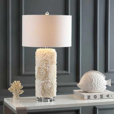 JONATHAN Y Rosette 28.5 in. Cream Seashell/Resin/Crystal LED Table Lamp - Home Depot