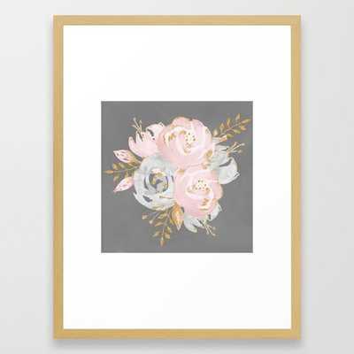 Night Rose Garden Gray Framed Art Print - Society6