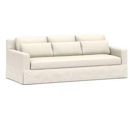 "York Deep Square Arm Slipcovered Grand Sofa 94"" with Bench Cushion, Down Blend Wrapped Cushions, Sunbrella(R) Performance Boss Herringbone Ecru - Pottery Barn"