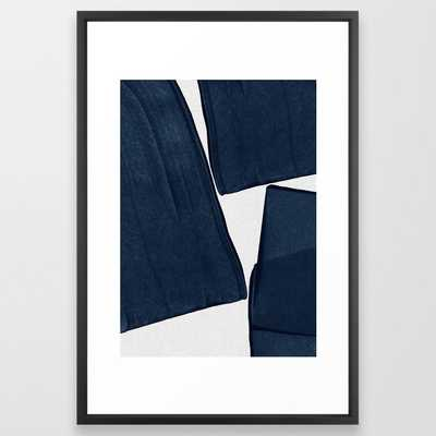 Minimalist Painting Blue III, Mid Century Modern Framed Art Print - Society6