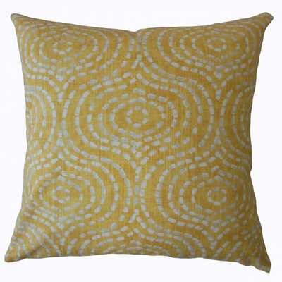 "Varian Geometric Pillow Yellow - 20"" x 20"" w/ Down Insert - Linen & Seam"
