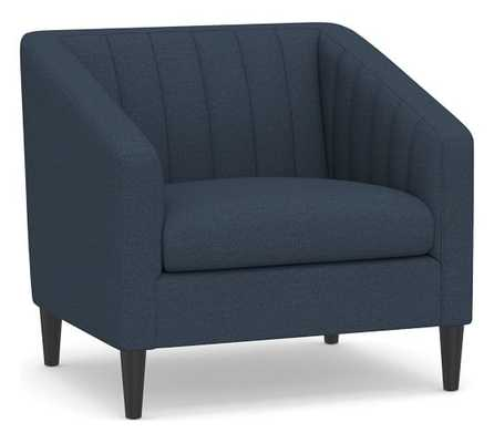SoMa Elsie Upholstered Armchair, Polyester Wrapped Cushions, Brushed Crossweave Navy - Pottery Barn