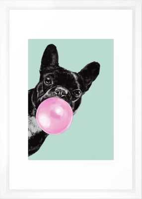 Bubble Gum Sneaky French Bulldog in Green Framed Art Print - Society6