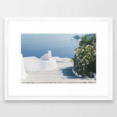 Santorini Stairs II (Landscape) Framed Art Print - Society6