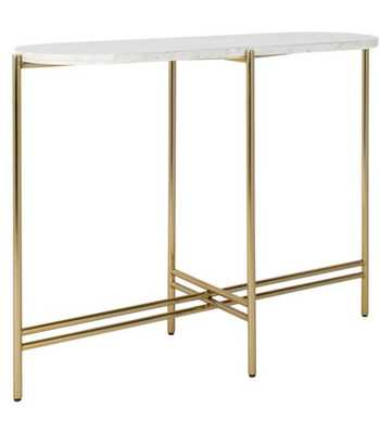 Cassie Small Console Table - White Marble/Brass - Arlo Home - Arlo Home