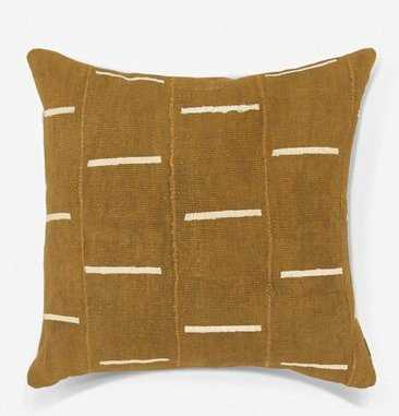 RAINEY ONE OF A KIND MUDCLOTH PILLOW, MUSTARD - Lulu and Georgia
