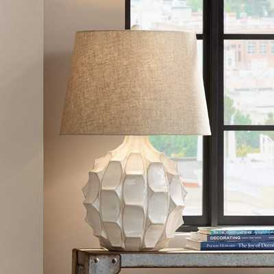 Cosgrove Round White Ceramic Table Lamp with USB Workstation Base - Style # 68V35 - Lamps Plus