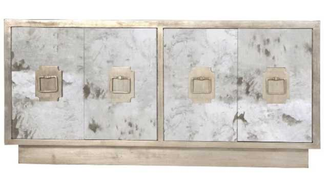 Antique Mirror Four Door Entertainment Console with Champagne Silver Leaf Detailing - Burke Decor