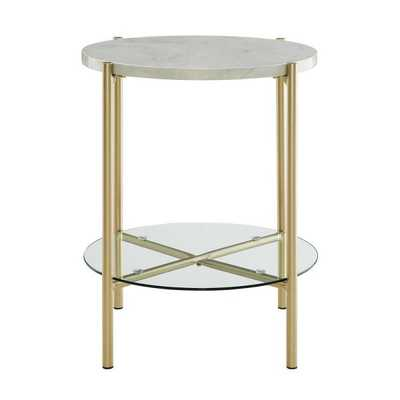 20 in. White Marble and Gold Simone Round Side Table, White/Gold - Home Depot