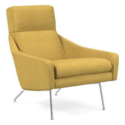 Austin Stationary Chair, Basket Slub, Dark Horseradish - West Elm