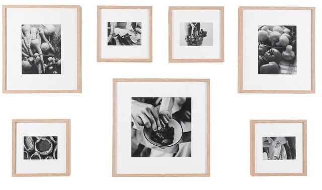 StyleWell Natural Wood Frame with White Matte Gallery Wall Picture Frames (Set of 7), Brown - Home Depot