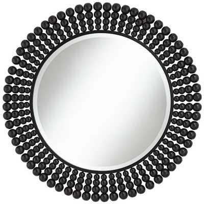 "Ellisha 34 3/4"" Round Black Wood Pearl Wall Mirror - Style # 71H65 - Lamps Plus"