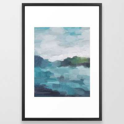 Aqua Blue Green Abstract Art Painting Framed Art Print by Rachel Elise - Society6