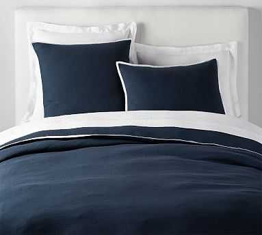 Belgian Flax Linen Contrast Duvet Cover, Full/Queen, Midnight/White - Pottery Barn