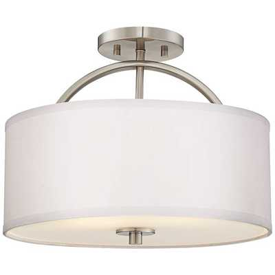 """Halsted Brushed Nickel Semi-Flush 15"""" Wide Ceiling Light - Lamps Plus"""