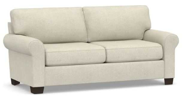 "Buchanan Roll Arm Upholstered Sofa, 79"", Alabaster White, Performance Heathered Basketweave - Pottery Barn"