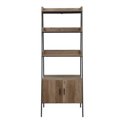 Rectangular Leaning-ladder Bookshelf With Metal Open Frame In Rustic Oak And Black Finish - Wayfair