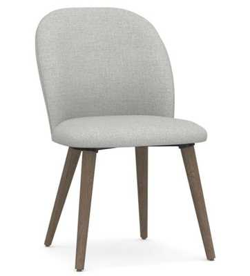 Brea Upholstered Dining Side Chair, Gray Wash Leg, Basketweave Slub Charcoal - Pottery Barn
