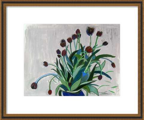 queen of the night tulip - Framed Art Print - Ornate - Black Gold Reverse Wood, frame - Artfully Walls