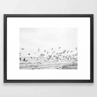 """Seagulls"" | Coastal black and white photo | Film photography | Beach Framed Art Print 20x26 - Society6"
