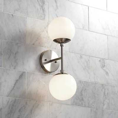 """Possini Euro Oso 6"""" High Opal Glass Brushed Nickel Sconce - Lamps Plus"""