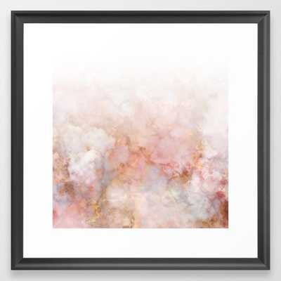 Beautiful Pink and Gold Ombre marble under snow Framed Art Print - Society6