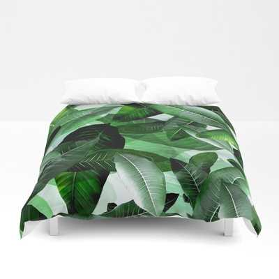 Banana palm leaf tropical jungle green Duvet Cover - Society6