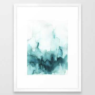Soft teal abstract watercolor Framed Art Print - Society6