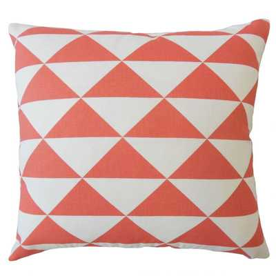 "Cadeau Geometric Pillow Coral, 20"" x 20"" with Down Insert - Linen & Seam"
