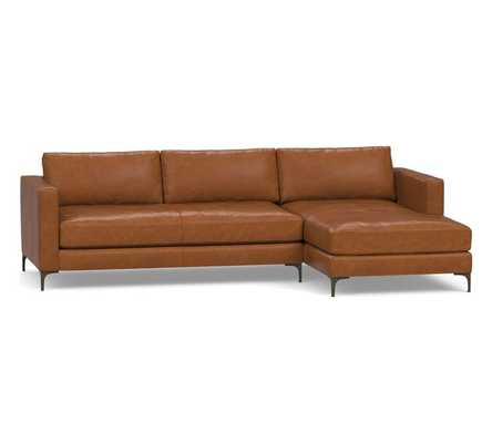Jake Leather Left Arm 2-Piece Sectional with Chaise, Down Blend Wrapped Cushions, Leather Statesville Caramel - Pottery Barn