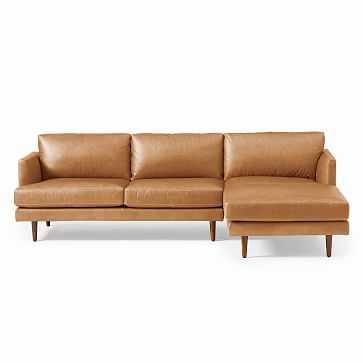 Haven Loft Leather 2-Piece Chaise Sectional/ Cognac, Stetson Leather/ Left Arm, Right Facing 2-Piece Chaise Sectional - West Elm