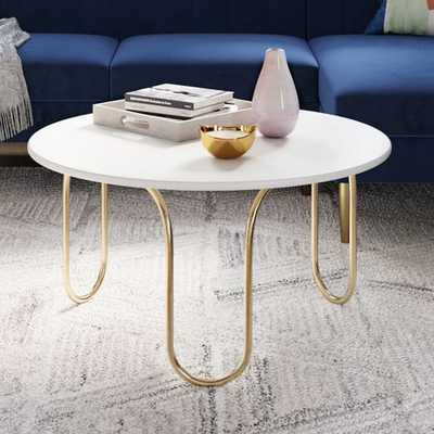 Cecile Coffee Table, Oyster, Antique Brass - West Elm