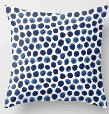 Large Indigo/Blue Watercolor Polka Dot Pattern Throw Pillow - Society6