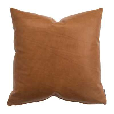 "COGNAC LEATHER PILLOW COVER WITH DOWN INSERT, 22"" x 22"" - McGee & Co."