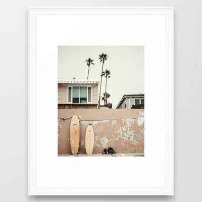 San Diego Surfing Framed Art Print, scoop white, 20x26 - Society6