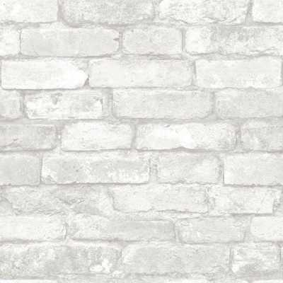 Grey and White Brick Peel And Stick Wallpaper - Home Depot