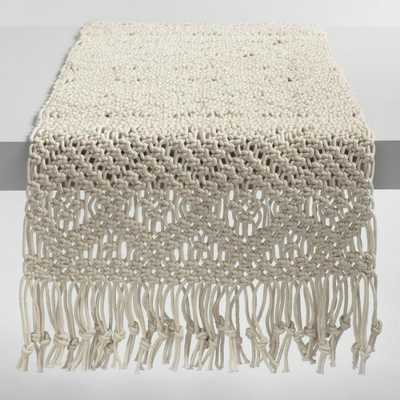 Natural Macrame Table Runner: White/Natural - Cotton by World Market - World Market/Cost Plus