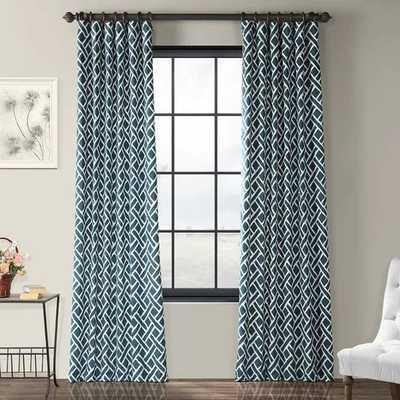 Berumen Geometric Room Darkening Rod Pocket Single Curtain Panel- Blue - AllModern