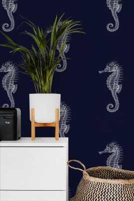 Ocean Seahorses on Navy removable wallpaper / nautical wallpaper / sea animals wallpaper / peel and stick wallpaper / temporary wallpaper523 - Etsy