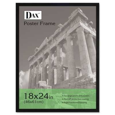 Flat Face Wood Poster Frame with clear plastic window, 18 x 24, Black - Wayfair