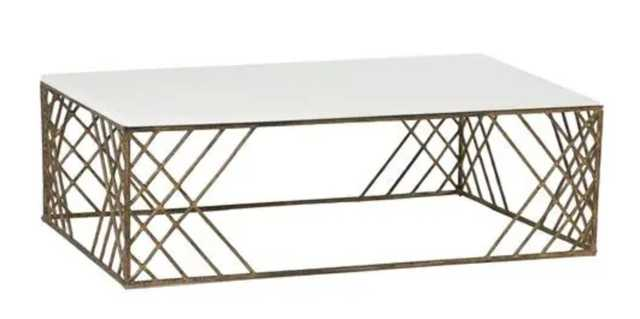 Coastal Sea Grass Antique Brass Coffee Table - Kathy Kuo Home