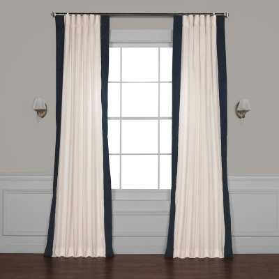 "Winsor Semi-Sheer Rod Pocket Single Curtain Panel - Polo Navy, 50""W x 96""L - Wayfair"