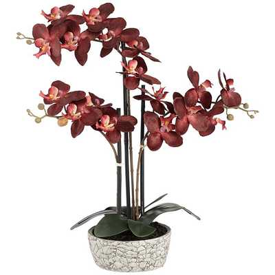 "Red Orchid 24"" High Faux Flower in Gray Pot - Lamps Plus"