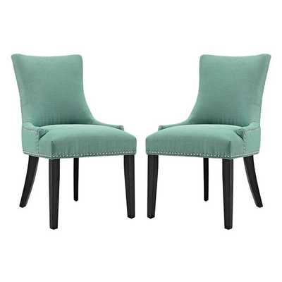 MARQUIS DINING SIDE CHAIR FABRIC SET OF 2 IN LAGUNA - Modway Furniture